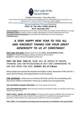 Parish Newsletter 30/31 December 2017 by houseonrock - issuu