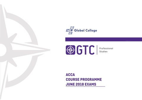GTC ACCA Course Programme June 2018 Exams by GTC Professional