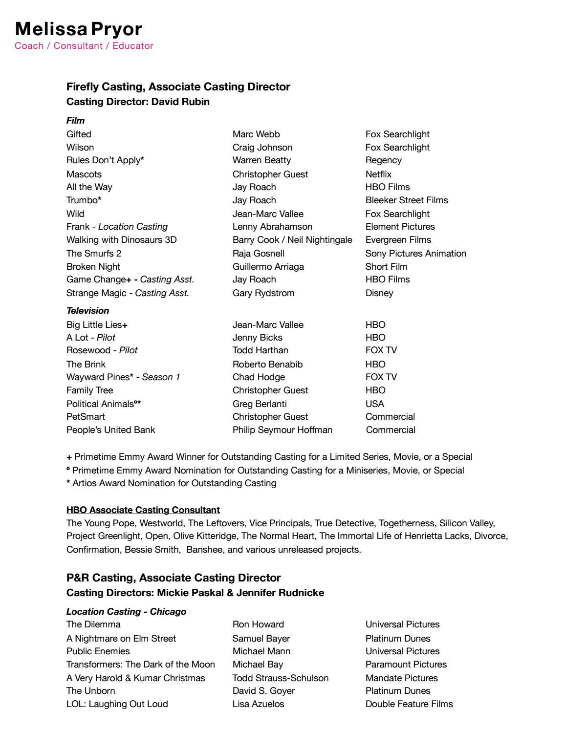 Casting Credits by Melissa Pryor - issuu
