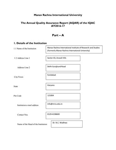 Naac aqar ay 2016 17 part a b by manav rachn university issuu page 1 fandeluxe Choice Image