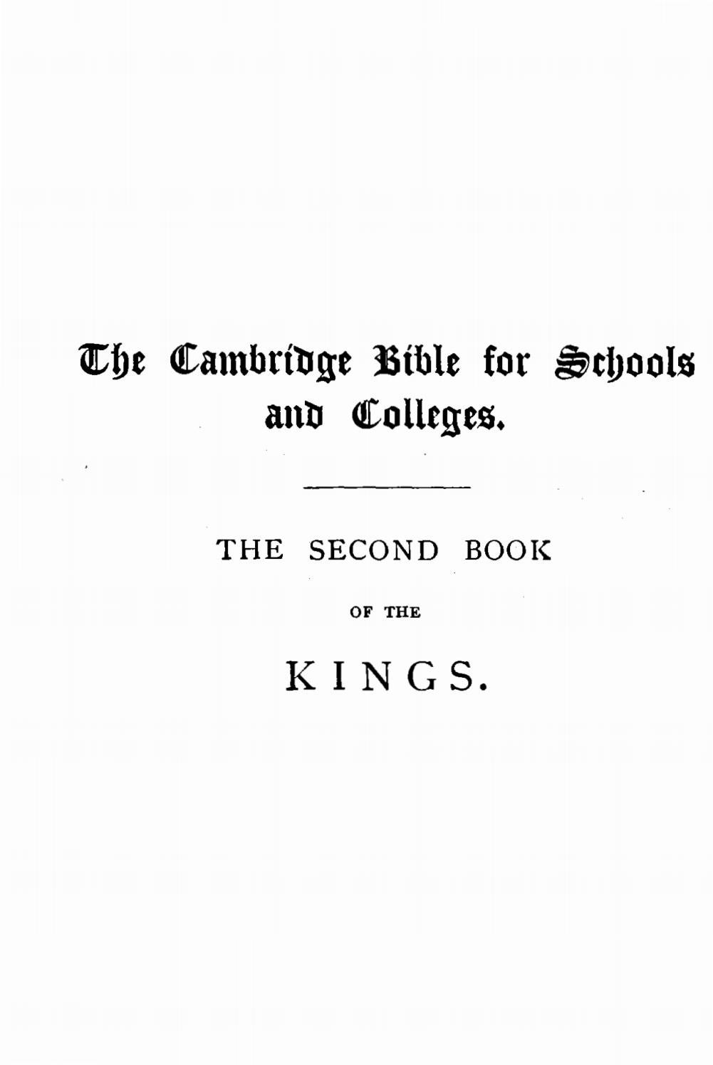 Joseph Rawson Lumby 1831 1895 The Second Book Of Kings