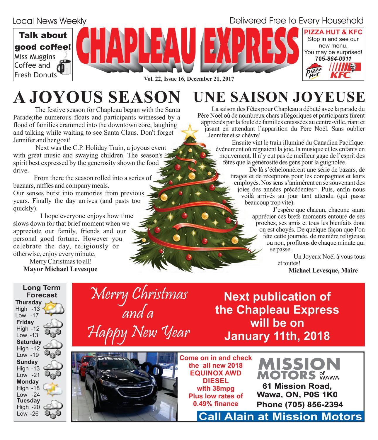 12212017 Chapleau Express by The Chapleau Express - issuu