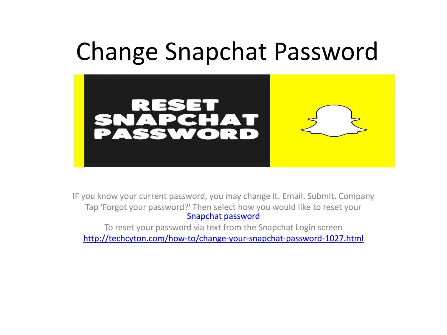 Snapchat password reset output by gaylonnell - Issuu