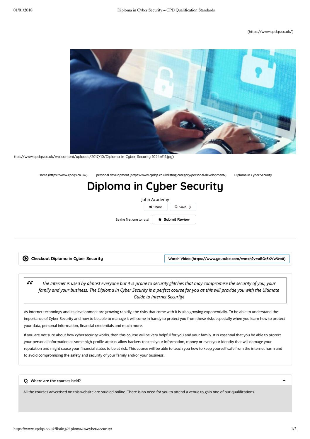Diploma in cyber security – cpd qualification standards by CPD