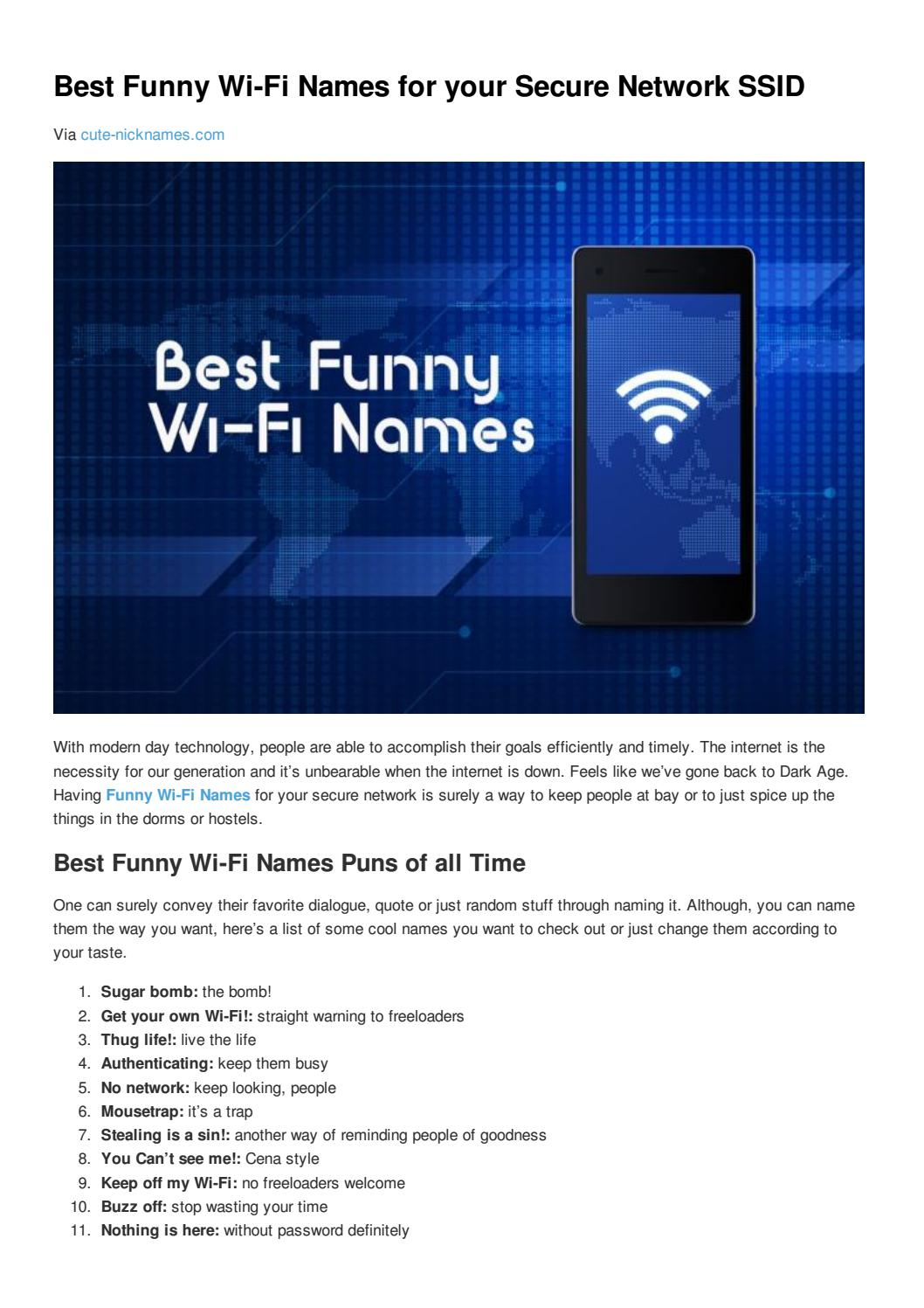 Best funny wi fi names for your secure network ssid by Cute