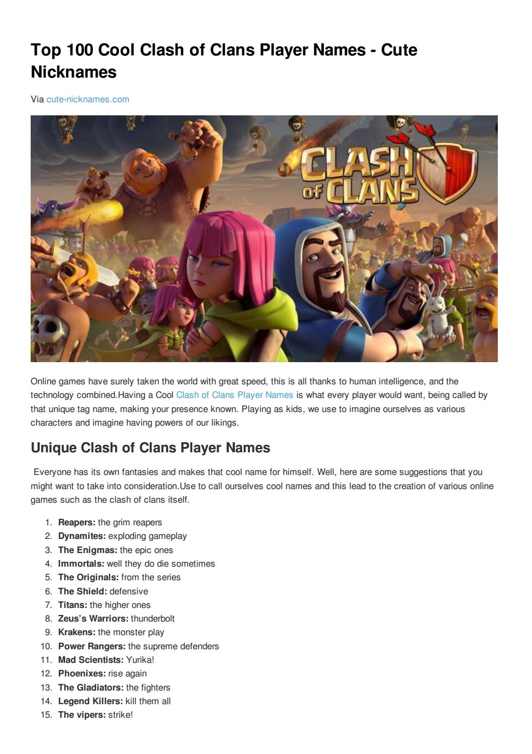 Top 100 Cool Clash Of Clans Player Names Cute Nicknames By Cute Nicknames Issuu