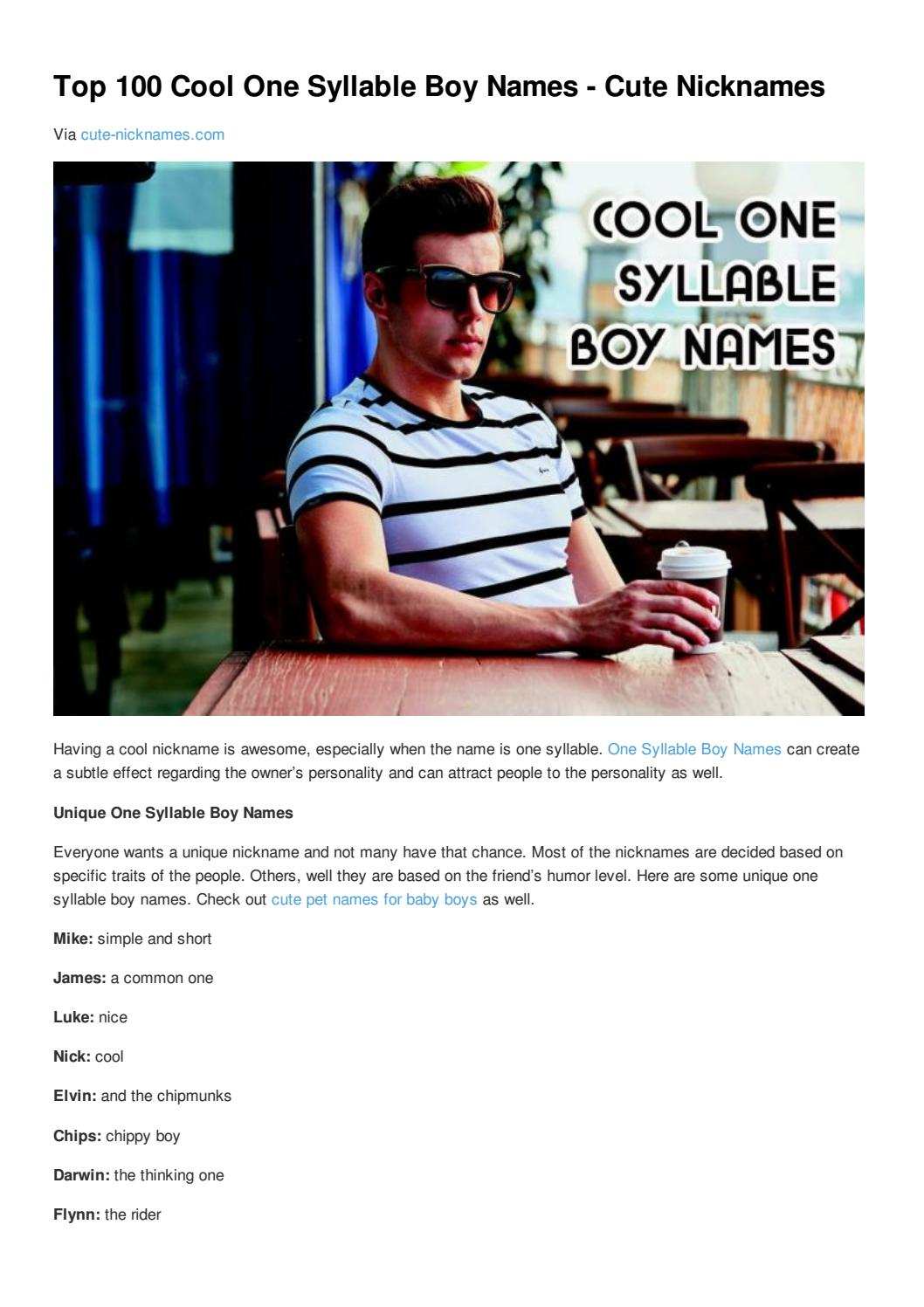 Top 100 cool one syllable boy names cute nicknames by Cute