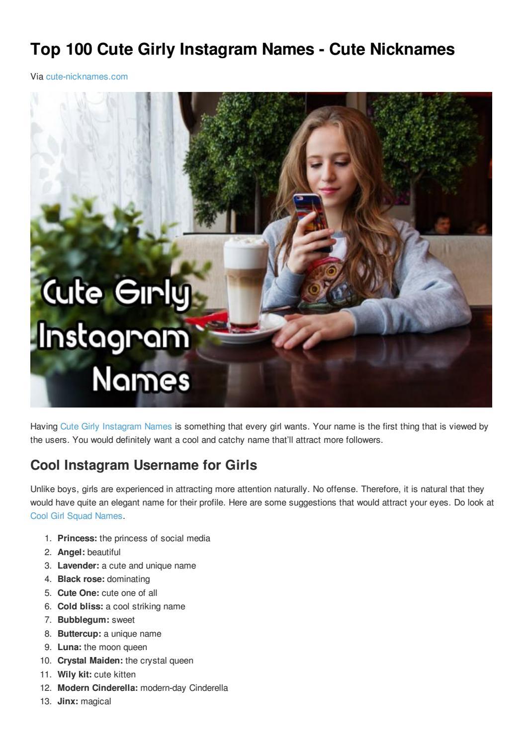 Top 100 cute girly instagram names cute nicknames by Cute