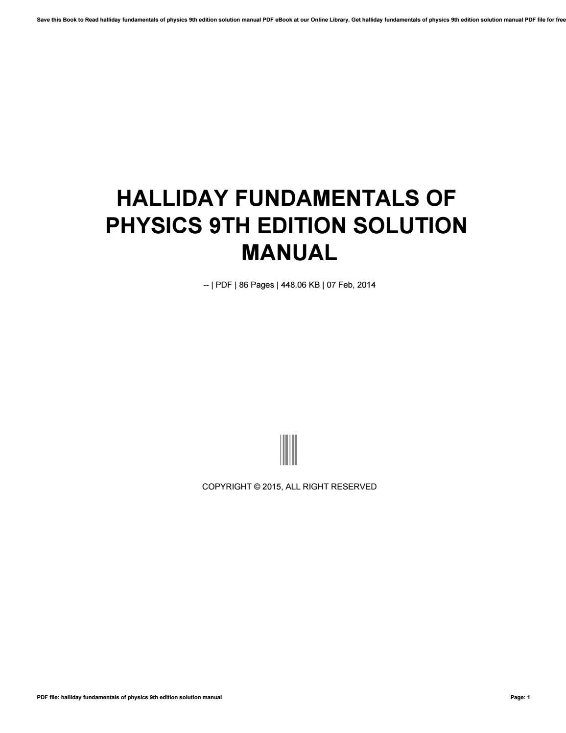 Halliday fundamentals of physics 9th edition solution manual by hezll68 -  issuu
