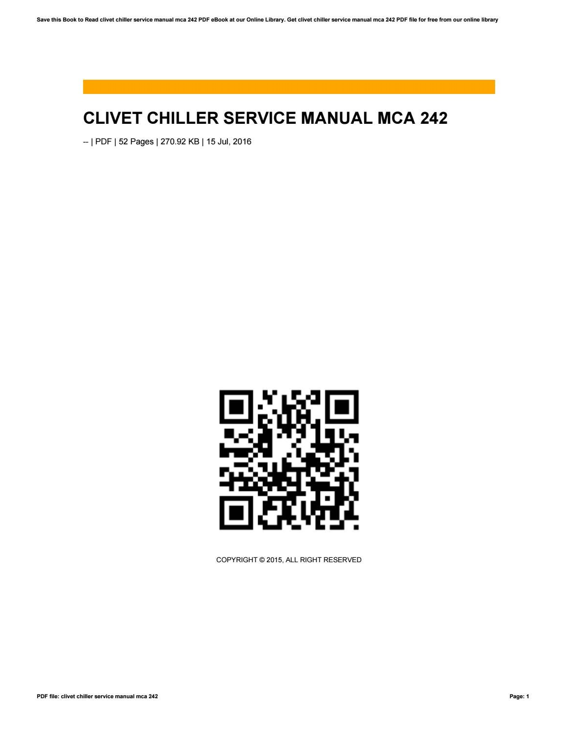 Clivet Chiller Service Manual Mca 242 By Wierie99