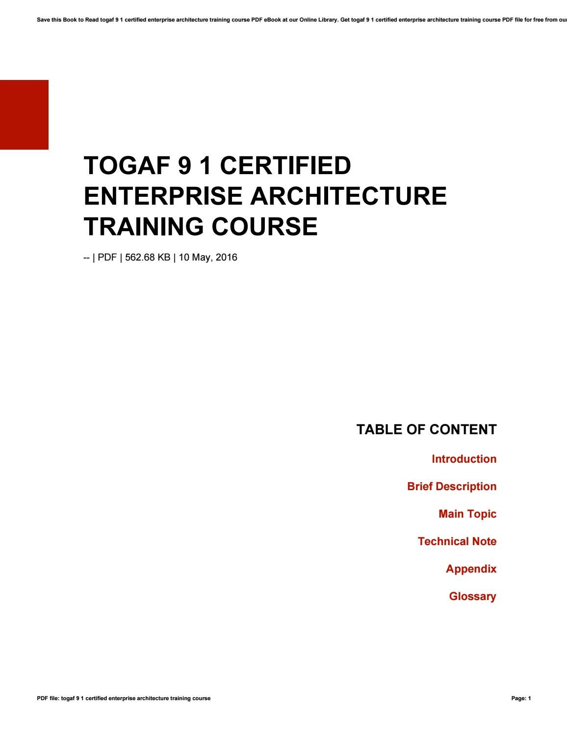 Togaf 9 1 Certified Enterprise Architecture Training Course By O552