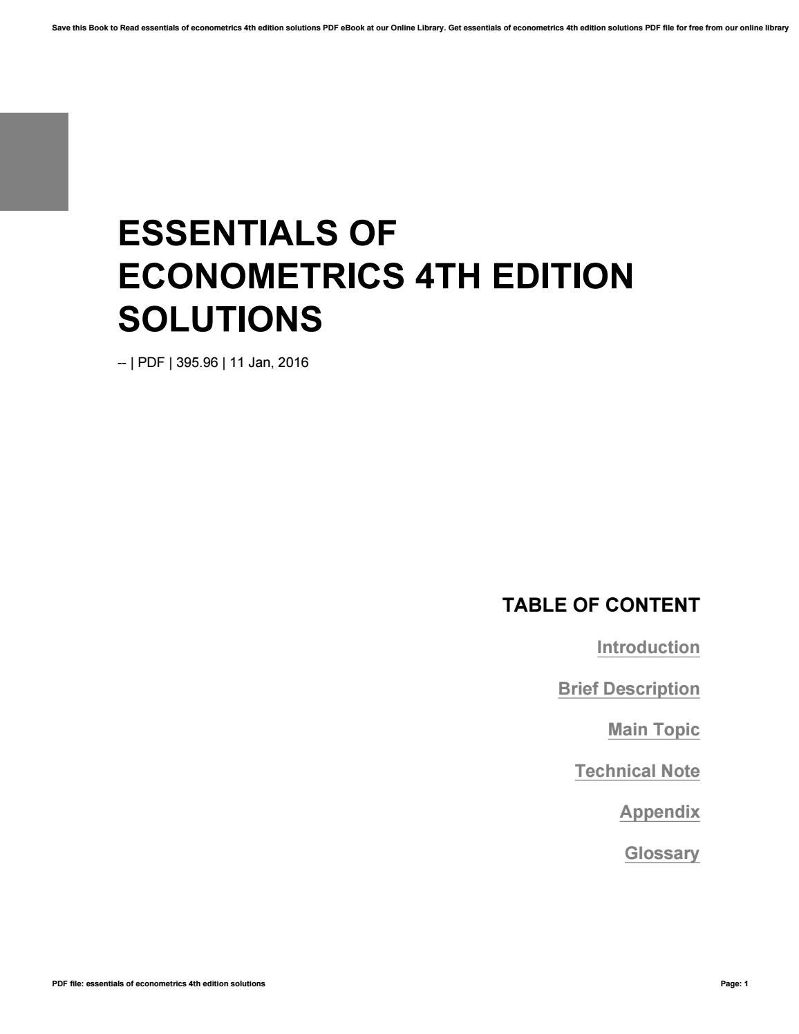 Essentials Of Econometrics 4th Edition Solutions By Mailed89 Issuu