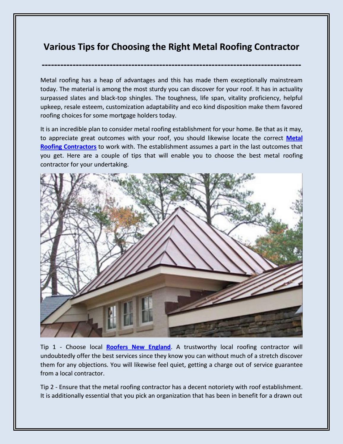 Various Tips For Choosing The Right Metal Roofing Contractor By Olympicroofing Issuu