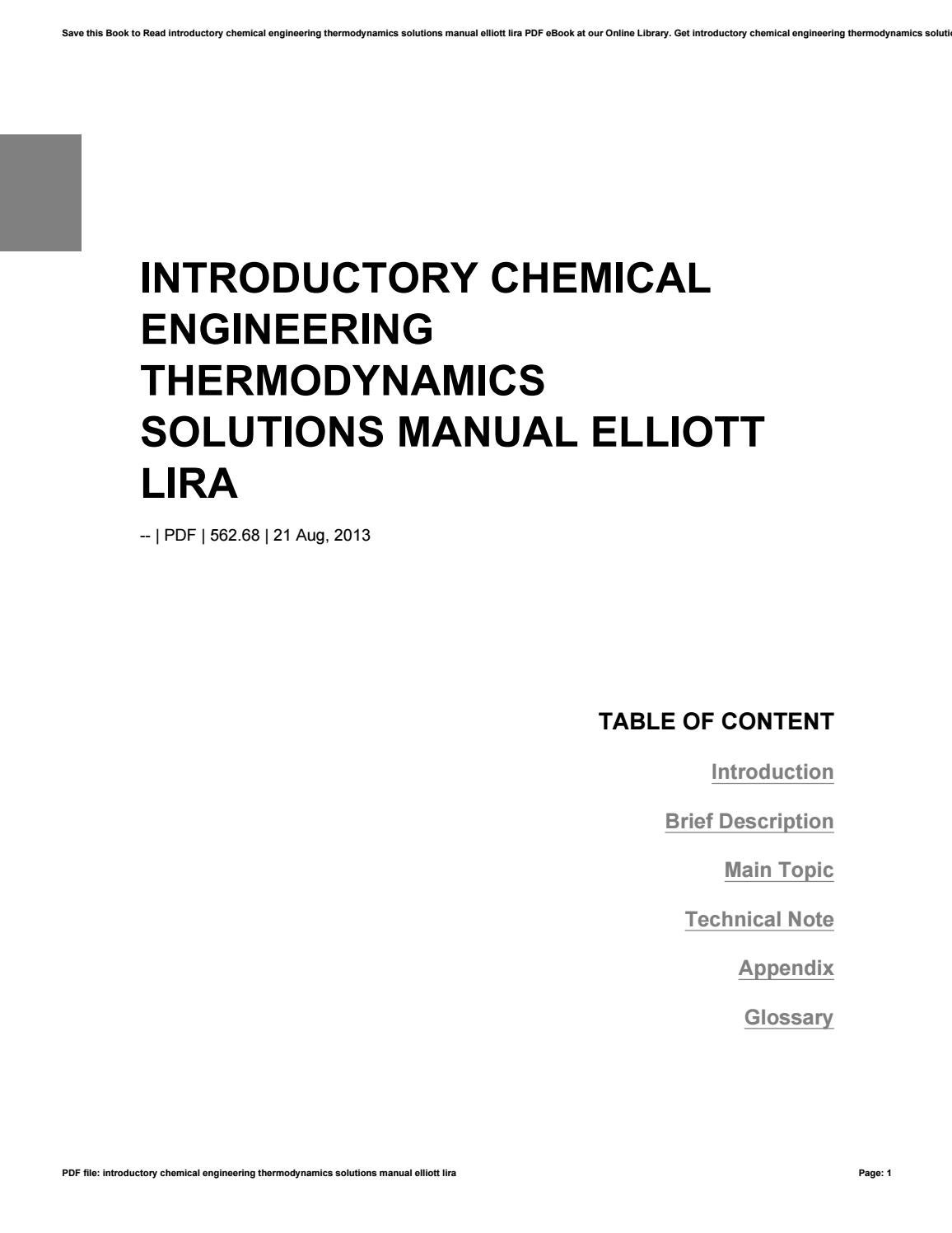 Introductory chemical engineering thermodynamics solutions manual elliott  lira by freealtgen4 - issuu