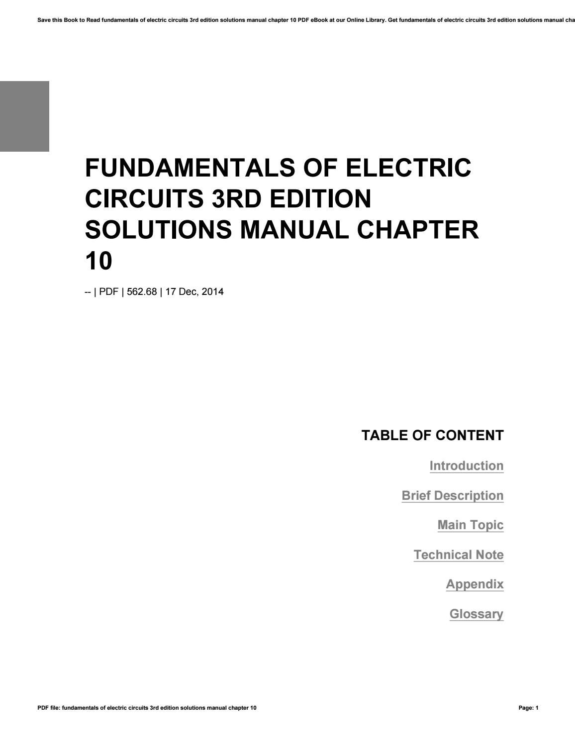 Fundamentals of electric circuits 3rd edition solutions manual chapter 10  by freealtgen4 - issuu