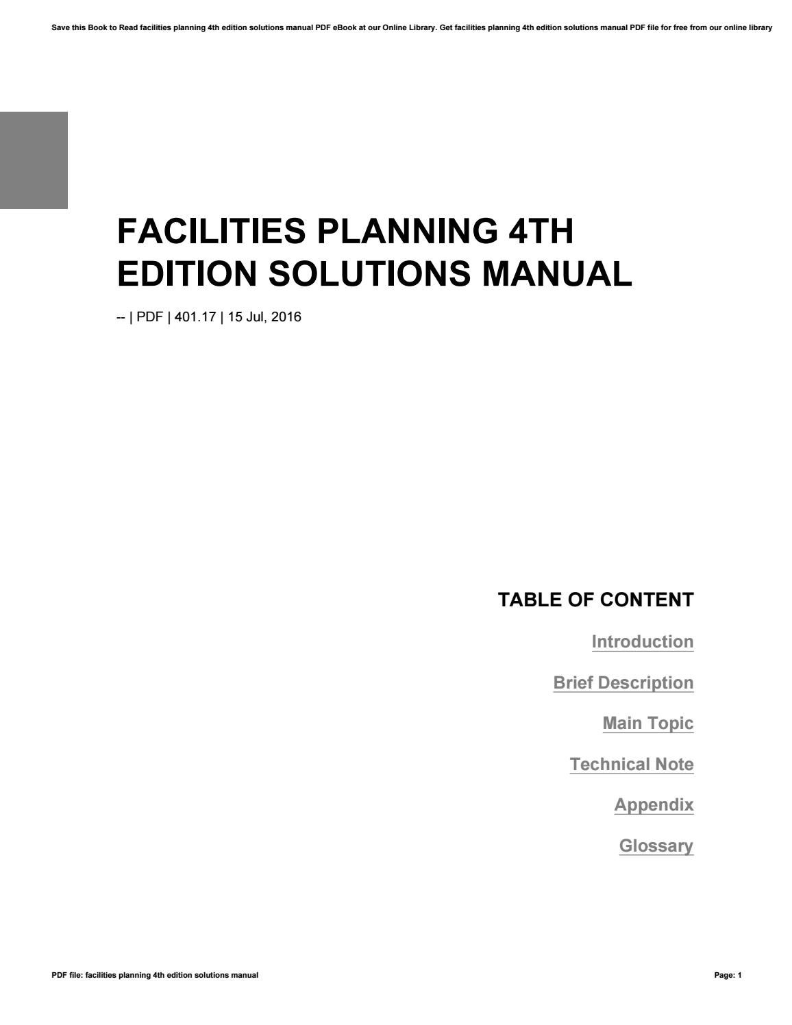 Facilities planning 4th edition pdf download.