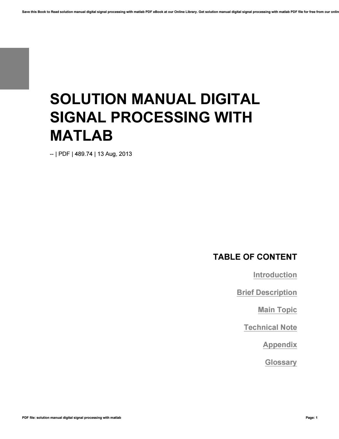 Solution manual digital signal processing with matlab by nezzart64 - issuu