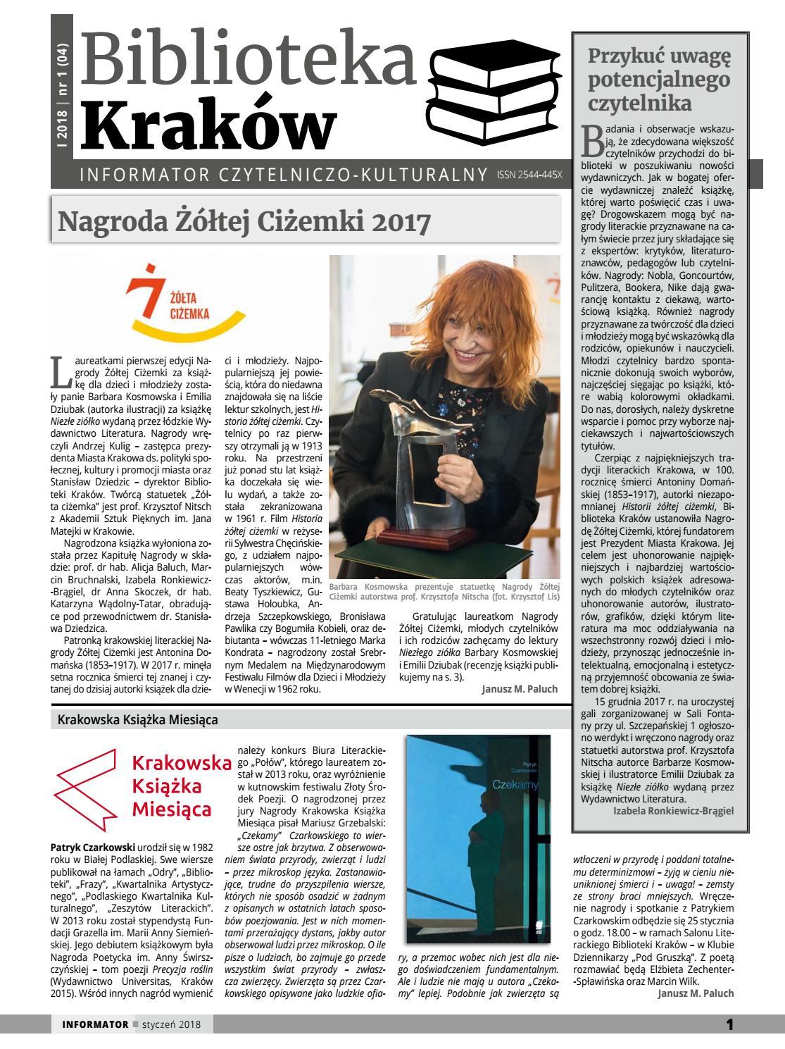 b43a089edc4cf1 Biblioteka kraków informator czytelniczo kulturalny styczeń 2018 by  Biblioteka Kraków - issuu