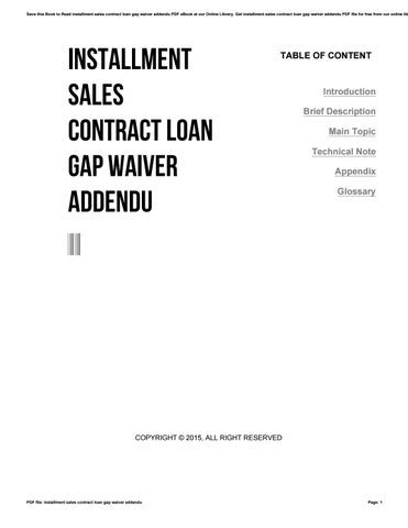 Installment Sales Contract Loan Gap Waiver Addendu By J  Issuu