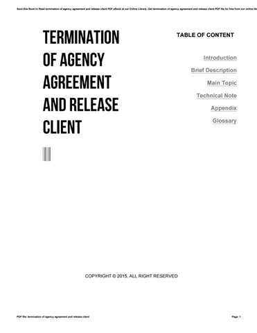 Termination Of Agency Agreement And Release Client By Nezzart35 Issuu