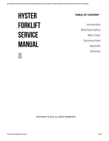 Hyster forklift service manual by barryogorman11 issuu save this book to read hyster forklift service manual pdf ebook at our online library get hyster forklift service manual pdf file for free from our online fandeluxe Image collections