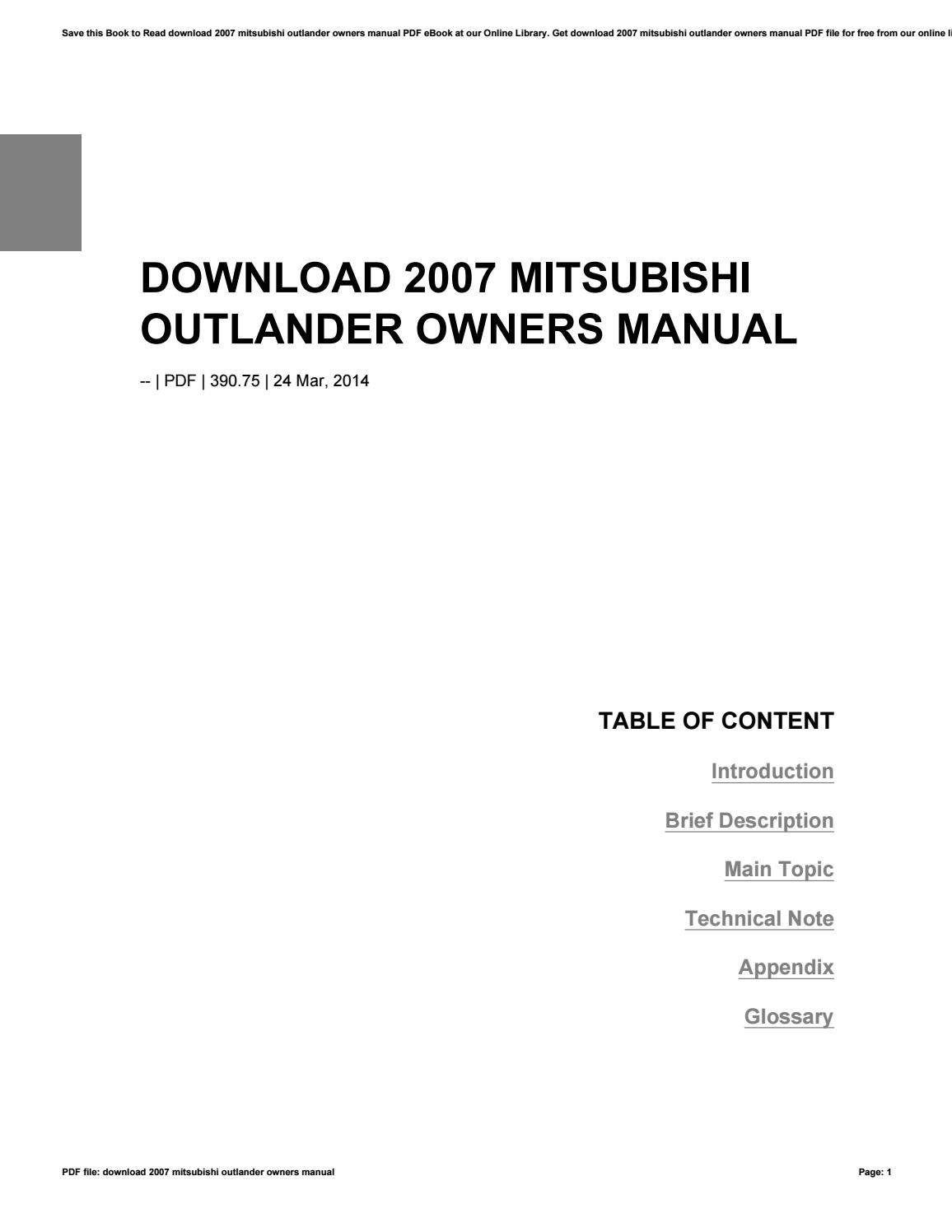 Owner & Operator Manuals MITSUBISHI OUTLANDER 2014 OWNERS MANUAL ...