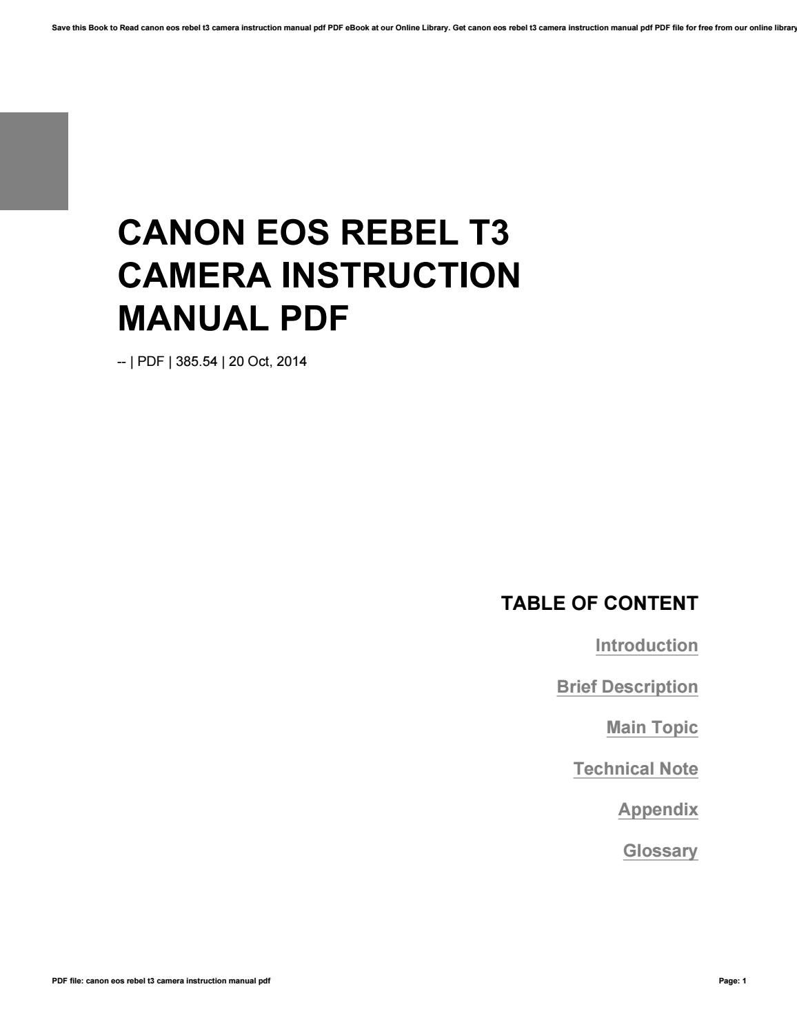 Canon eos rebel t3 camera instruction manual pdf