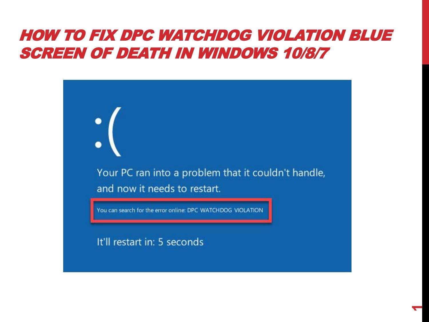 How To Fix DPC Watchdog Violation Blue Screen of Death in
