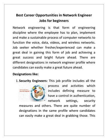 Best Career Opportunities In Network Engineer Jobs For Beginners By