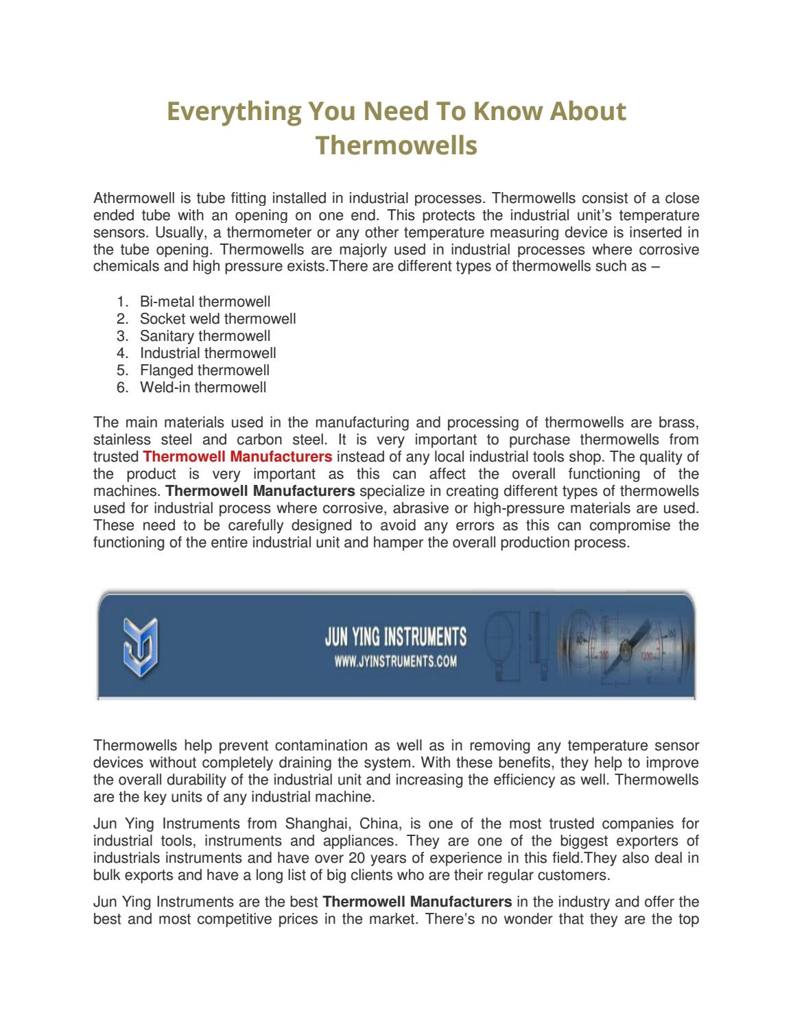 Everything You Need To Know About Thermowells by Shanghai