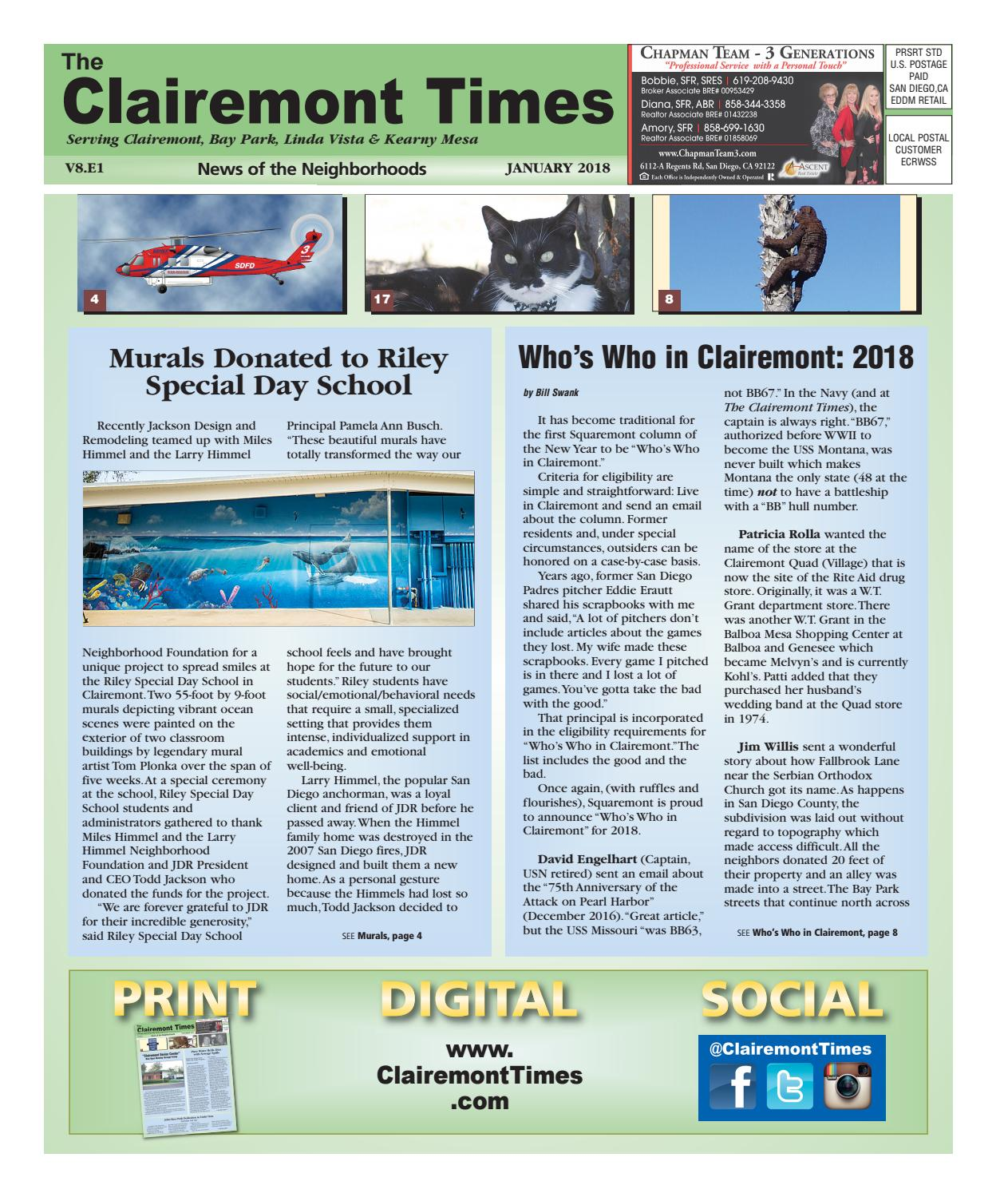 Clairemont Times January 2018 by Clairemont Times - issuu