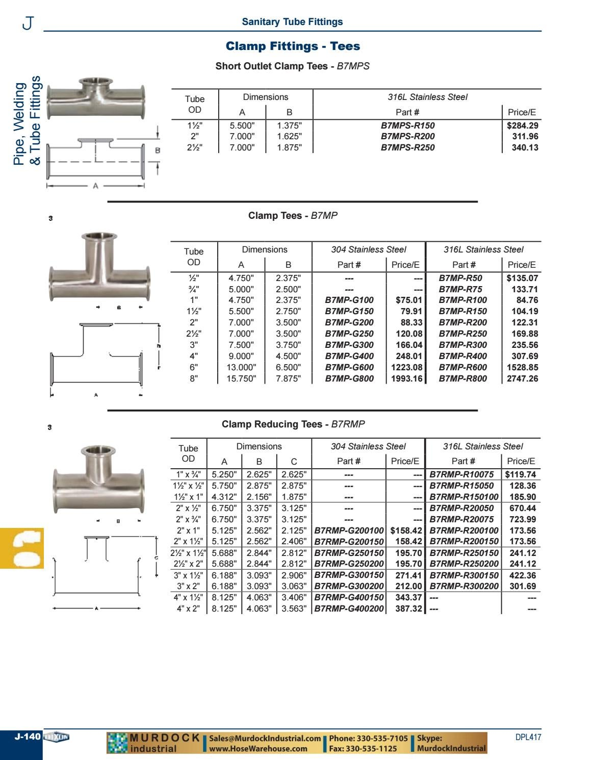 Short Outlet B7MPS-R300 316L Dixon 3 CLAMP TEE