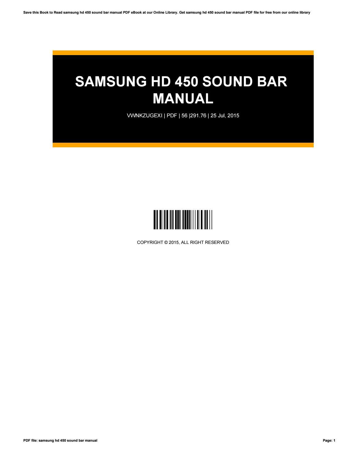 Samsung hd 450 sound bar manual by nezzart85 - issuu