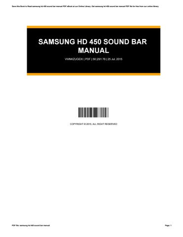 Samsung hd 450 sound bar manual by nezzart85 - issuu