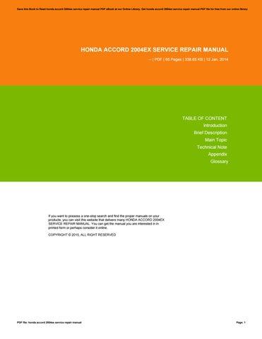 honda accord 2004ex service repair manual by pejovideomaker94 issuu rh issuu com