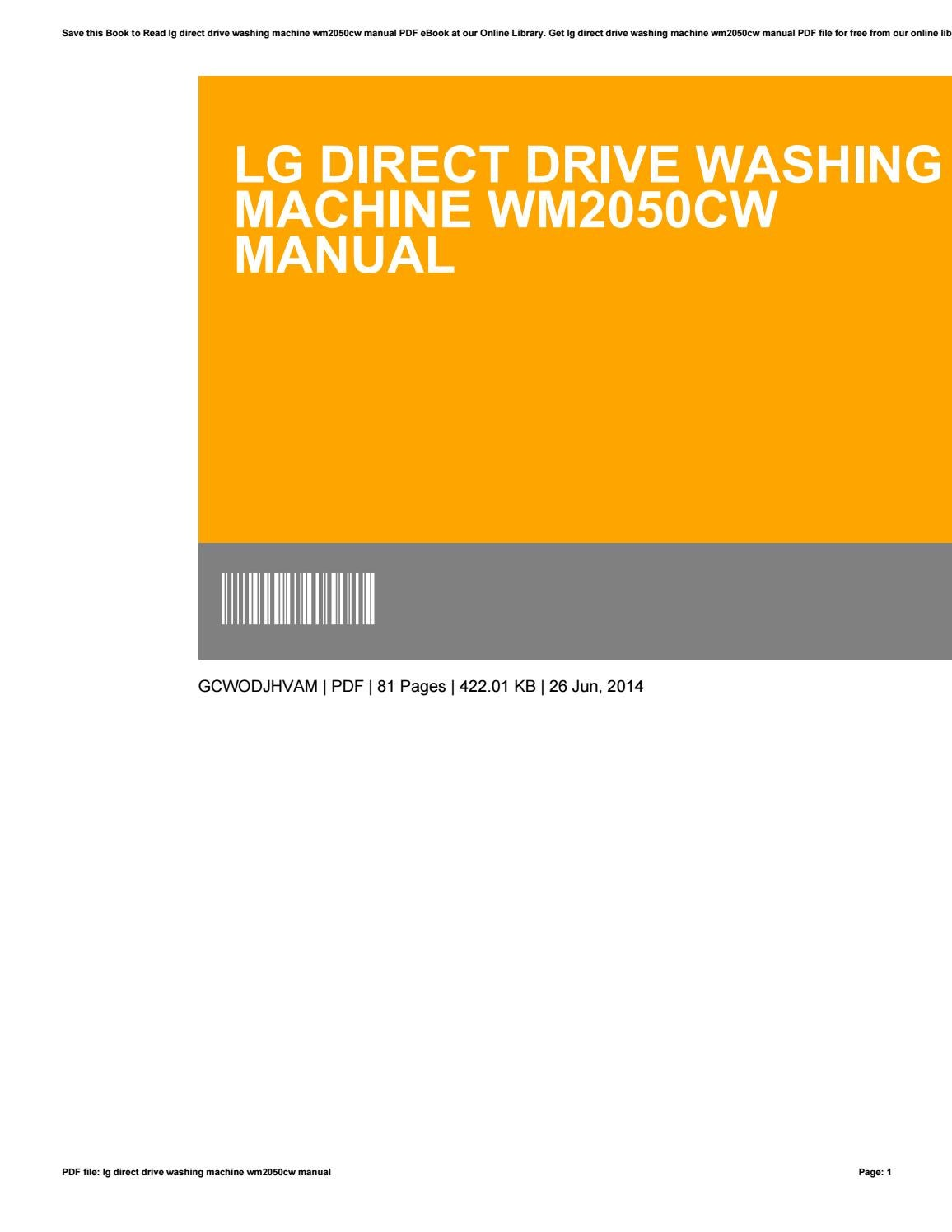 Lg Direct Drive Washing Machine Wm2050cw Manual By Asm99