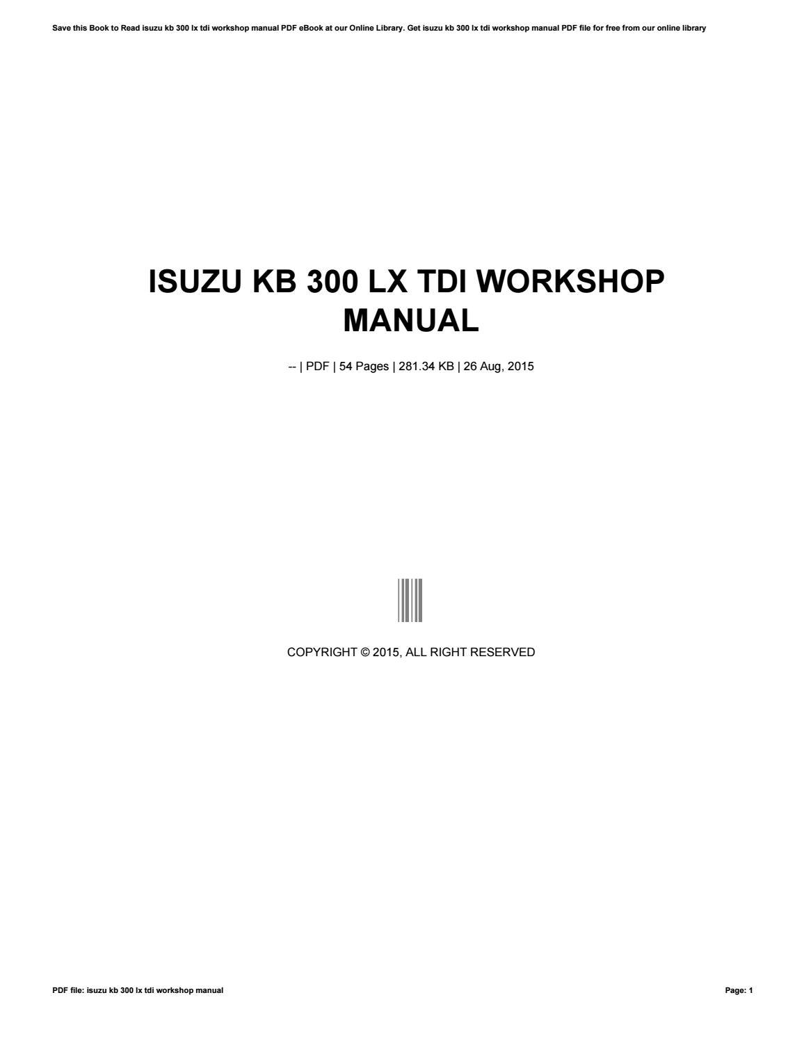 isuzu kb 300 lx tdi workshop manual by rkomo00 issuu rh issuu com isuzu kb  300 service manual