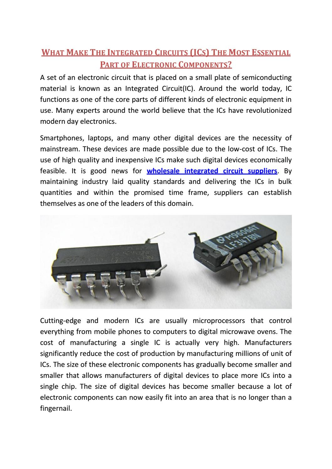 What Make The Integrated Circuits Ics Most Essential Part Of Circuit Electronics Electronic Components By Express Technology Group Issuu