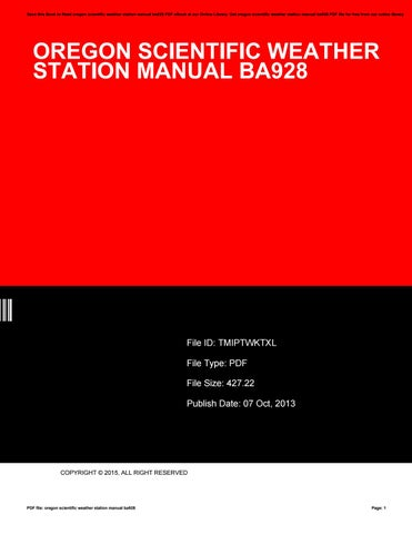 oregon scientific weather station manual ba928 by e885 issuu rh issuu com Oregon Scientific Manuals AW131 Oregon Scientific User Manuals