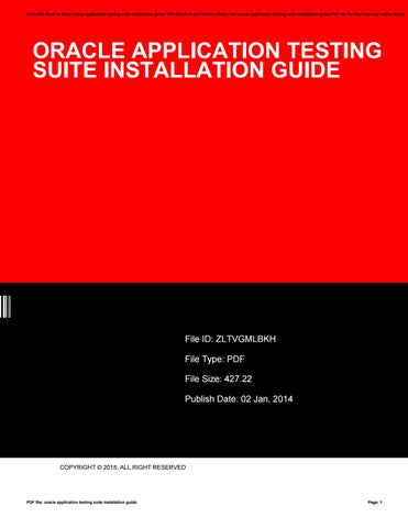 Oracle application testing suite installation guide by e885