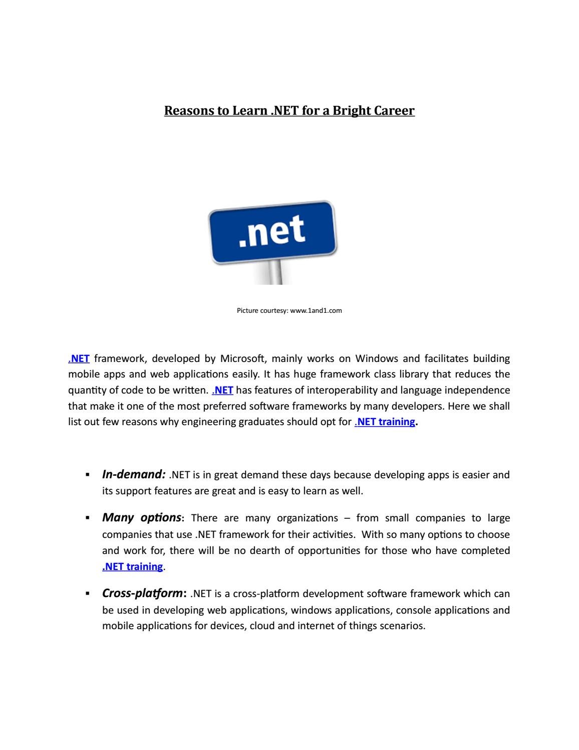 Reasons To Learn  NET for a Bright Career -Ikya Global Edu