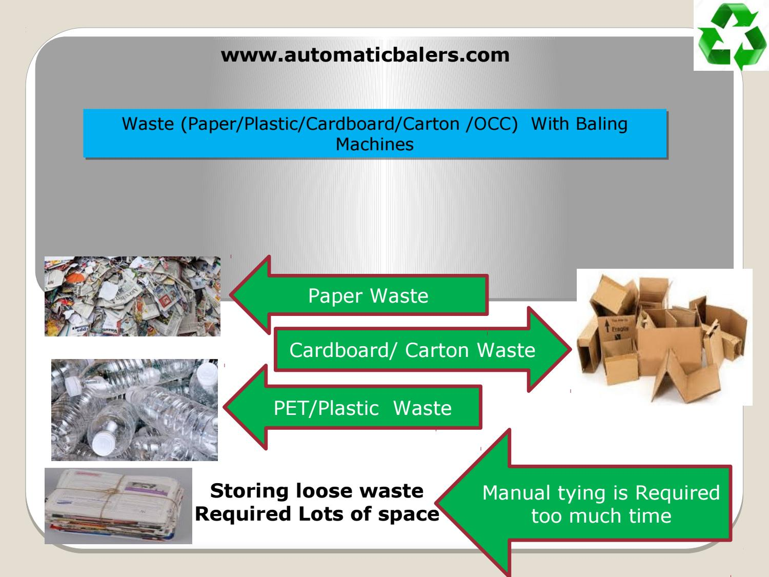 Waste (Paper/Plastic/Cardboard/Carton /OCC) With Baling