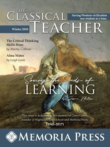 The classical teacher winter 2018 by memoria press issuu page 1 fandeluxe Gallery