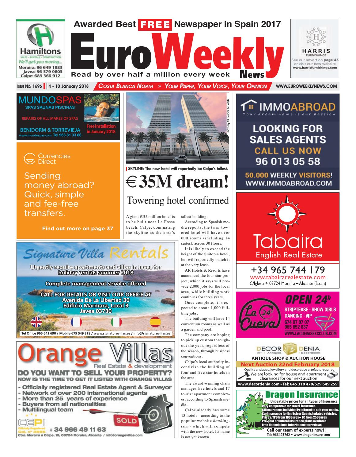 Euro weekly news costa blanca north 4 10 jan 2018 issue 1696 by euro weekly news costa blanca north 4 10 jan 2018 issue 1696 by euro weekly news media sa issuu fandeluxe Gallery