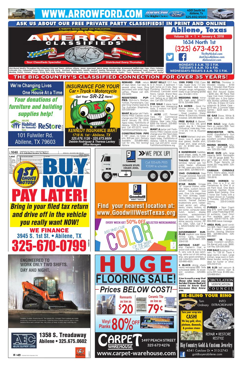 American Classifieds Abilene 01-04-18