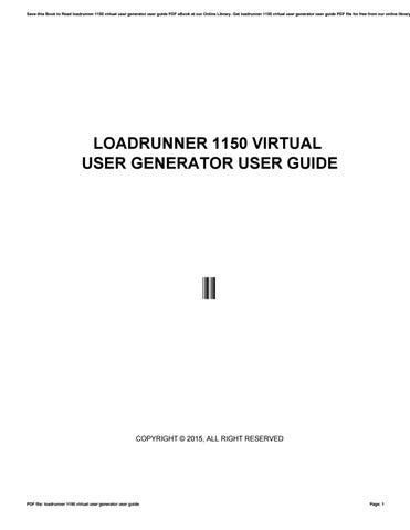 LOADRUNNER USER GUIDE PDF DOWNLOAD