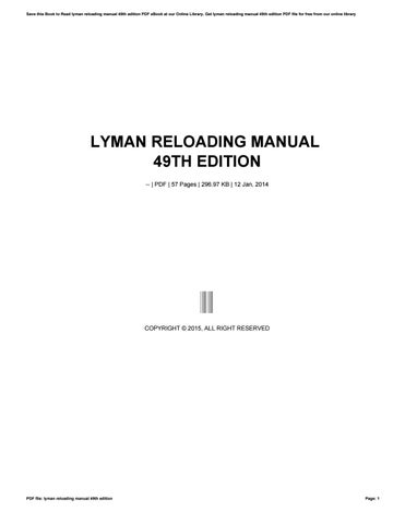 Amazon.com : Lyman 49th Edition Reloading Handbook : Gunsmithing Tools And  Accessories : Sports & Outdoors