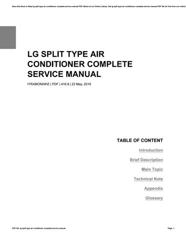 lg split type air conditioner complete service manual by rh issuu com Amana AC Manuals Amana AC Manuals