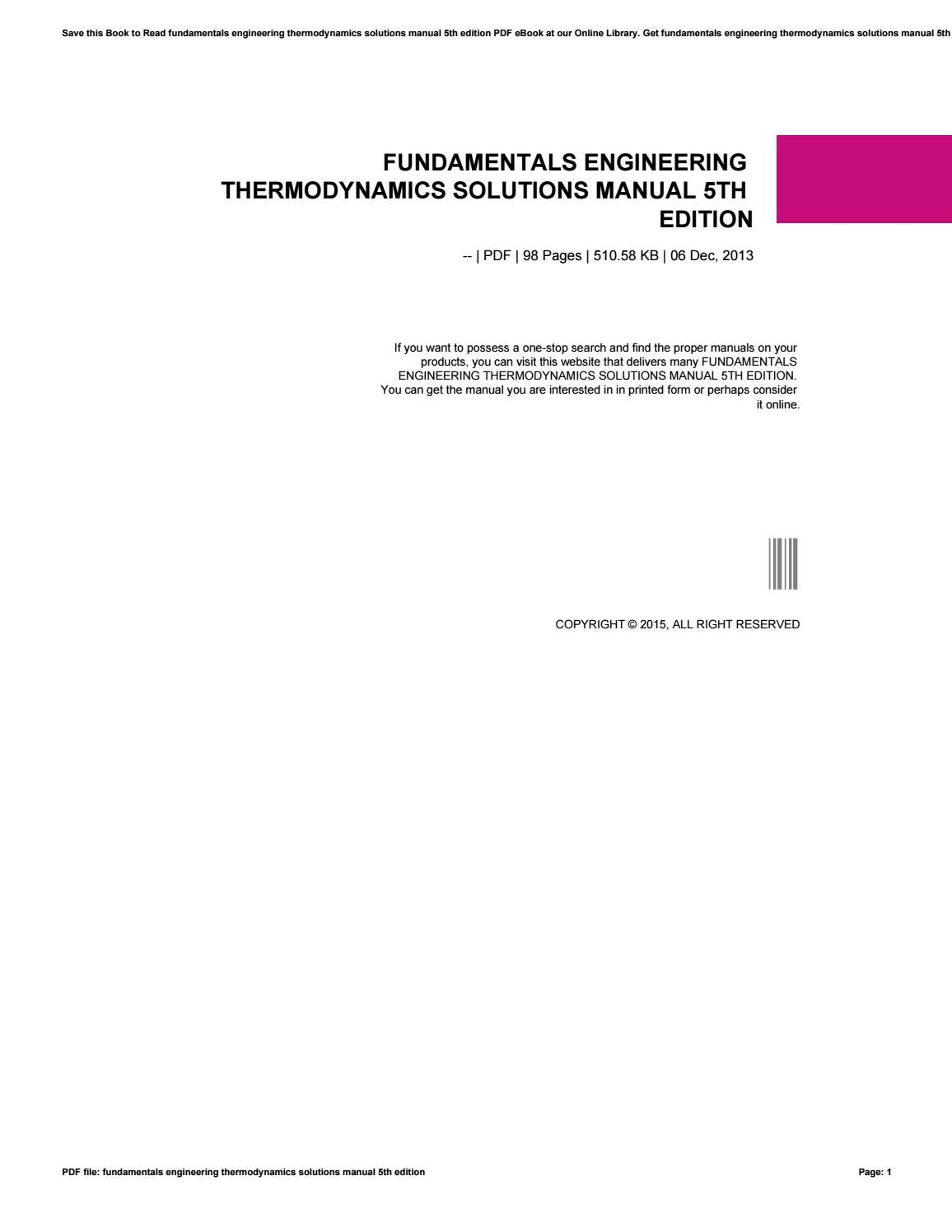 Fundamentals engineering thermodynamics solutions manual 5th edition by  ax80mail22 - issuu