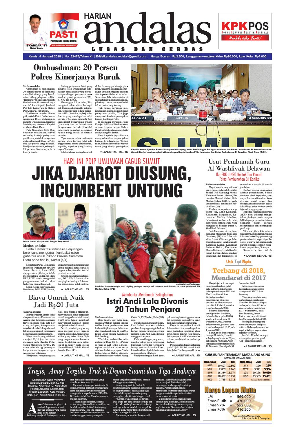 Epaper Andalas Edisi Kamis 4 Januari 2018 By Media Andalas Issuu